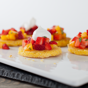 Colombian Sweet Corn Arepas with Strawberries
