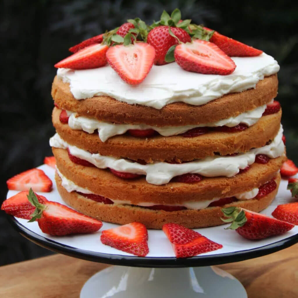 Strawberries + Cream Layer Cake